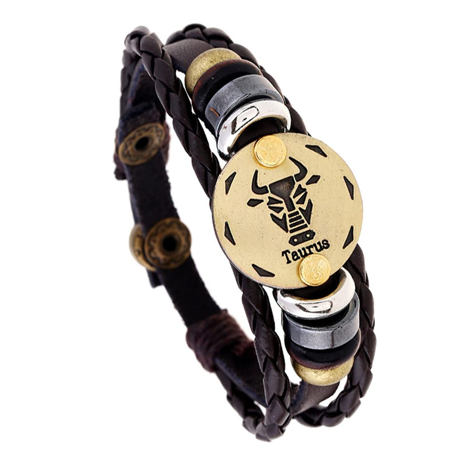 Linsh Handmade Alloy Leather Zodiac Sign Taurus Braided Rope Bracelet Vintage Charms Best Friend Bangle