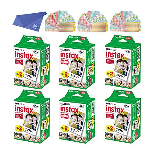 Fujifilm Instax Mini Instant Film, 2x10 Shoots x6 Pack (Total 120 Shoots) + withC Microfiber Cleaning Cloth+ Free...