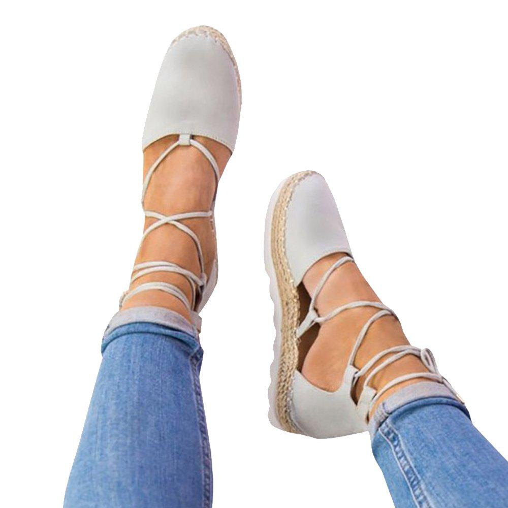 Rainlin Women's Crisscross Lace up Espadrille Platform Sandals Cut Out Ankle Wrap Flat Shoes Size 10.5 Grey