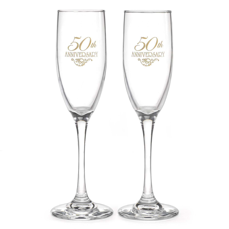 Hortense B. Hewitt Wedding Accessories 50th Anniversary Champagne Toasting Flutes, Set of 2 by Hortense B. Hewitt