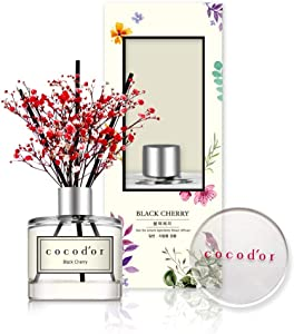 Cocod'or Mini Flower Reed Diffuser/Black Cherry / 1.6oz(50ml) / 1 Pack/Fragrance Decor for Cars Cubicles, Small Rooms and Home, Diffuser Oil Sticks Gift Set