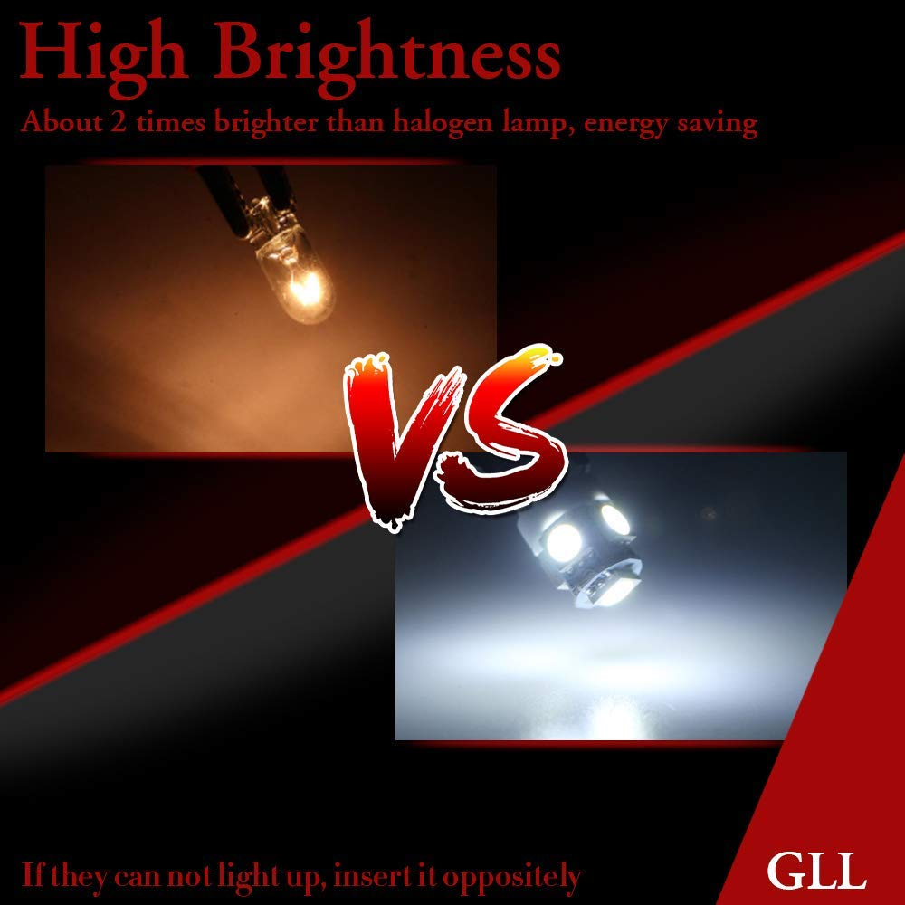 luces de lectura de coche para puerta de coche Grandview 10 bombillas LED blancas T10 5050 12 V W5 W 2825 T10 para coche 5 SMD 194 192 168