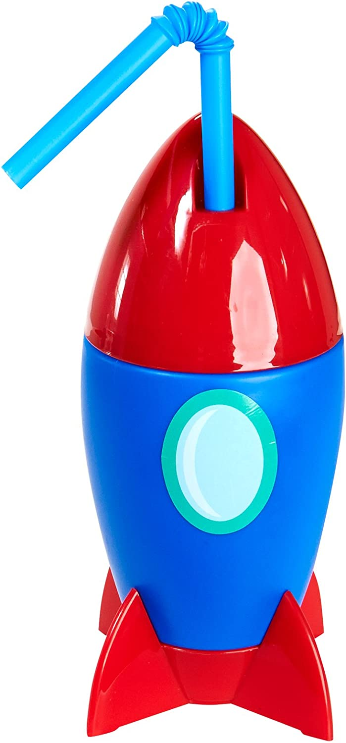 Space Ship Plastic Sippy Cup with Straw Solar System Rocket to Space Astronaut Childrens Birthday Party Supplies 4