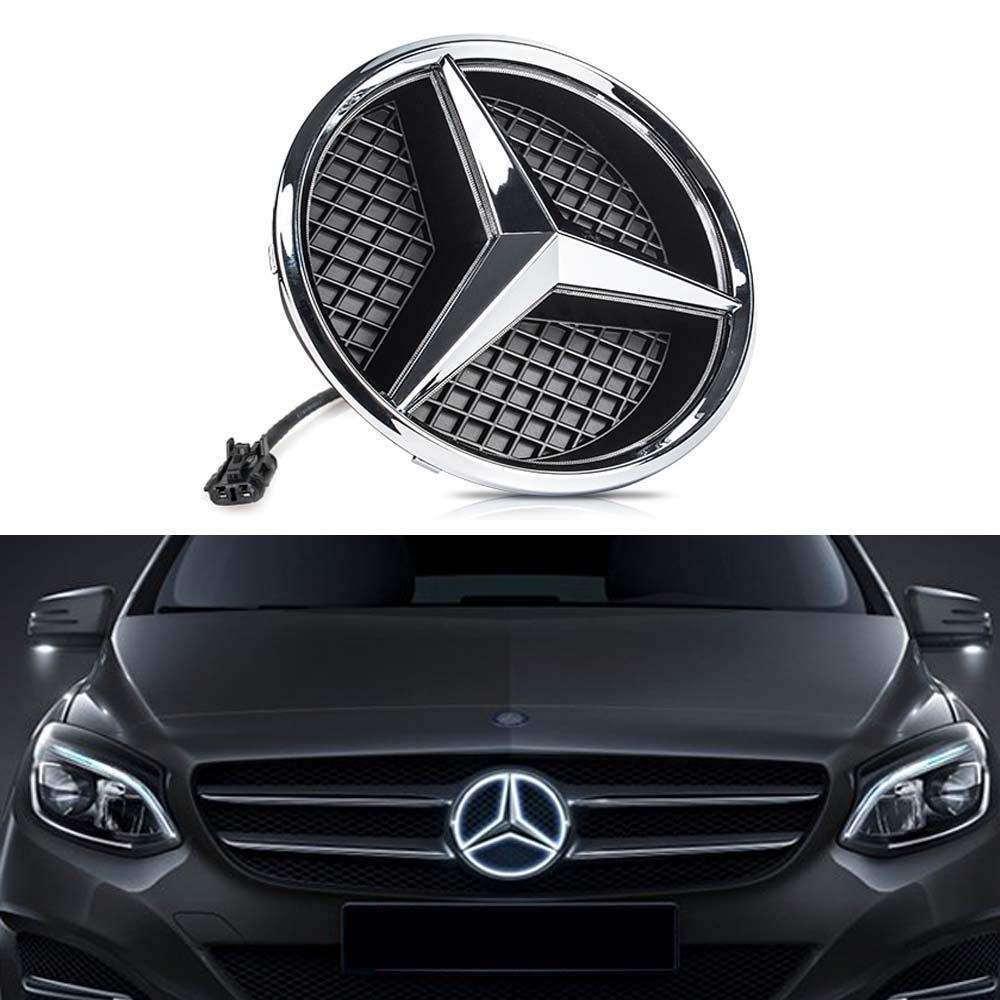 DIYcarhome LED Emblem Car Logo Grid LED Grille Badge Front Light White Illuminated for Mercedes Benz 2013-2015 ABCER GLK ML GL CLA CLS Class Series - ...