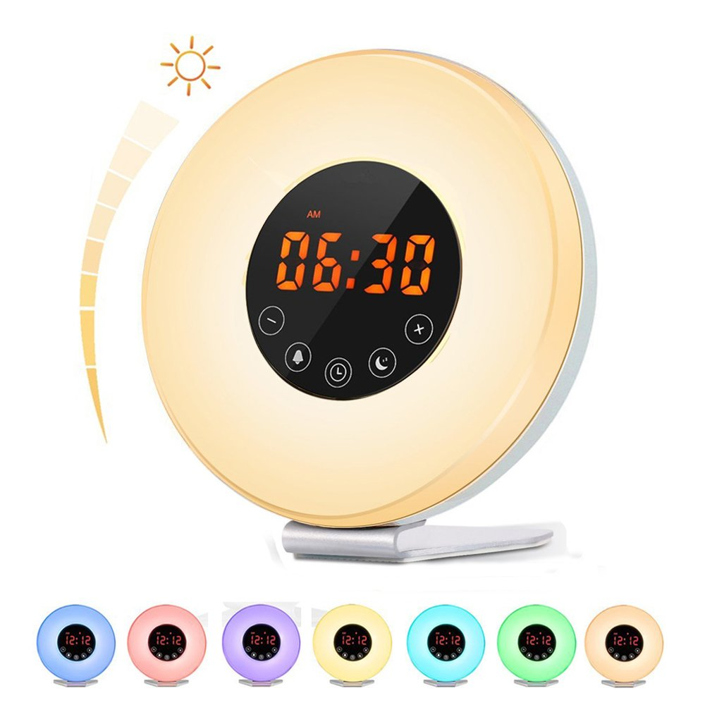 Sunrise Alarm Clock, Bcway Wake Up Light Bedside Lamp Kids Alarm Clock with Sunrise Sunset Simulation, 6 Nature Sounds, FM Radio, 10 Brightness, 7 Colors, Snooze Function