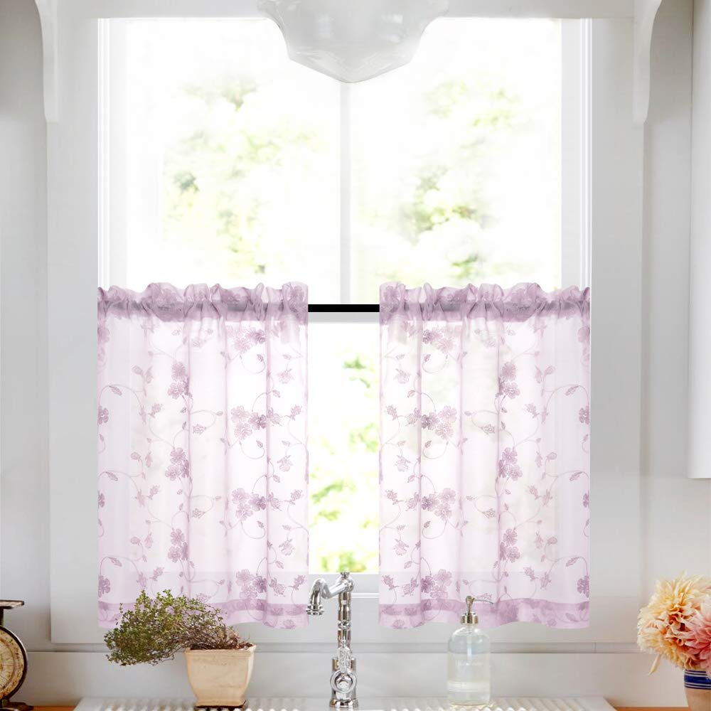 Lilac tier sheer curtains purple kitchen curtains voile floral drapery rod pocket top curtain panels for short basement windows for kitchen living room