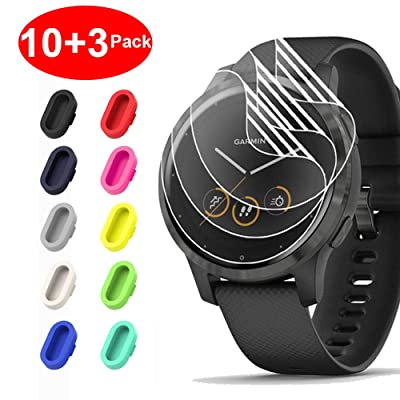 [10+3 Pack] Compatible with Garmin Vivoactive 4 Screen Protector Film with Charger Port Protector, Silicone Anti-dust Plug Colorful + HD Clear Screen Protector Film for Garmin Vivoactive 4(45mm)