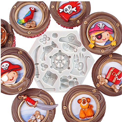 Pirate Fondant Silicone Molds for Party cupceke topper、chocolate 、candy 、gummy making、sugarcraft、Cake decorations、Ploymer clay
