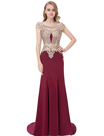 f0900ad0401 Sarahbridal Womens Formal Evening Ball Gowns Long 2019 Lycra Applique Prom  Dress with Sleeves Burgundy US2