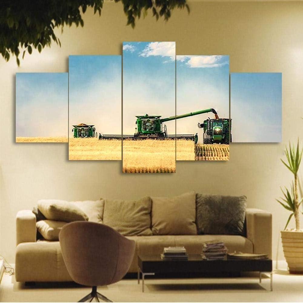 Wodes 5 Unidades Lienzo Cosechadora Cosechadora Paisaje Rural Lienzo Cuadro Pintura Impresión Decorativa Cartel Arte De La Pared 30 * 40 * 2 30 * 60 * 2 30 * 80Cm Marco de madera