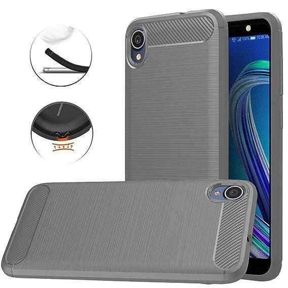 buy online 9d877 55263 Asus ZenFone Live L1 (ZA550KL) Case, Dretal Carbon Fiber Shock Resistant  Brushed TextureAnti-Fingerprint Flexible Soft TPU Phone Protective Cover  Case ...