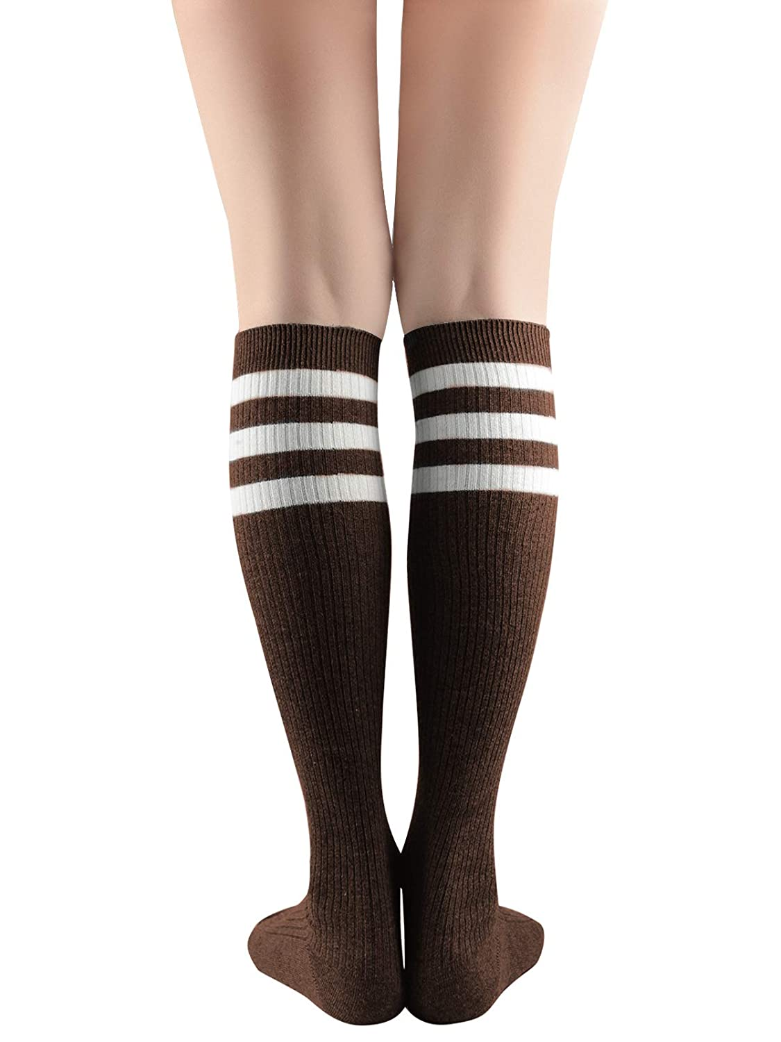 5dcb4c6c1 Zando Women Cute Cotton Triple Striped Knee High Tube Socks Casual Boot  Socks 1 Pair Black Red White One Size at Amazon Women s Clothing store