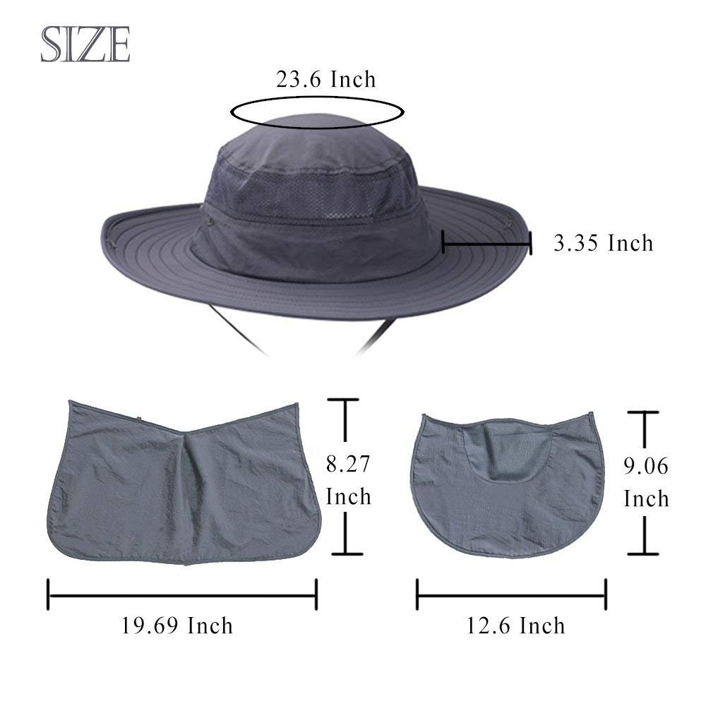 AYAMAYA Fishing Hats for Men/Women with Neck Flap & Face Mask, Wide Brim Breathable Sun Protection Hat Summer Outdoor 360° UV Protective Sun Visor Cap Boonie Hats Quick Drying for Travel Hiking by AYAMAYA (Image #7)