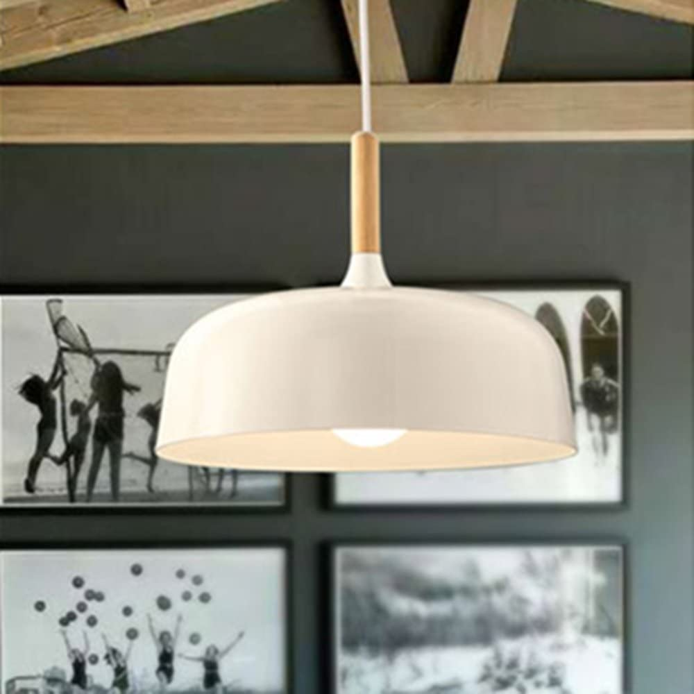 E26 27 Modern Pendant Light Industrial Art Deco Ceiling Lighting Light Fixture Simple Nordic Style Hanging Lamp Shade 1 Light Fixtures For Dining Room Kitchen Island Hallway Shop Wooden White Amazon Com