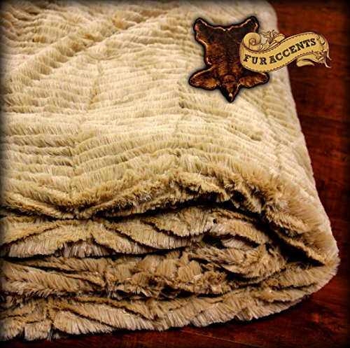 Fur Accents Minky Fur Throw Blanket Tan Camel Chenille 3' X 5' Reversible Cuddle Fur Lining -