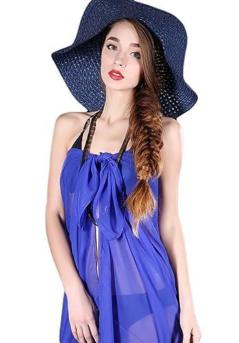 NiSeng Mujer Vestido de Gasa Pareo Color Sólido Para La Playa Chiffon 100 * 140 CM Azul Zafiro
