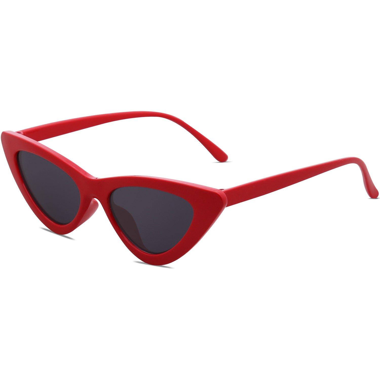 SOJOS Lunettes de Soleil Clout Goggles Œil de Chat Vintage Mod Rétro Kurt Cobain SJ2044 avec Rouge Cadre/Gris Lentille dFS7mbWQQ