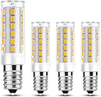 Fulighture - Bombilla LED (E14, 8 W equivalentes a 60 W, 3000 K, luz blanca cálida, 800 lm, ángulo de emisión de 360°, bajo consumo, para lámpara de pared y campana extractora, 4 unidades: Amazon.es: Iluminación