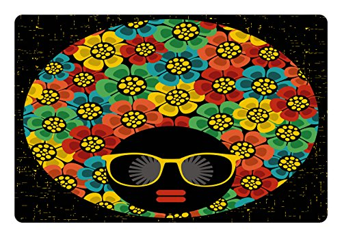 Ambesonne 70s Party Pet Mat for Food and Water, Abstract Woman Portrait Hair Style with Colorful Flowers Sunglasses Lips Graphic, Rectangle Non-Slip Rubber Mat for Dogs and Cats, -