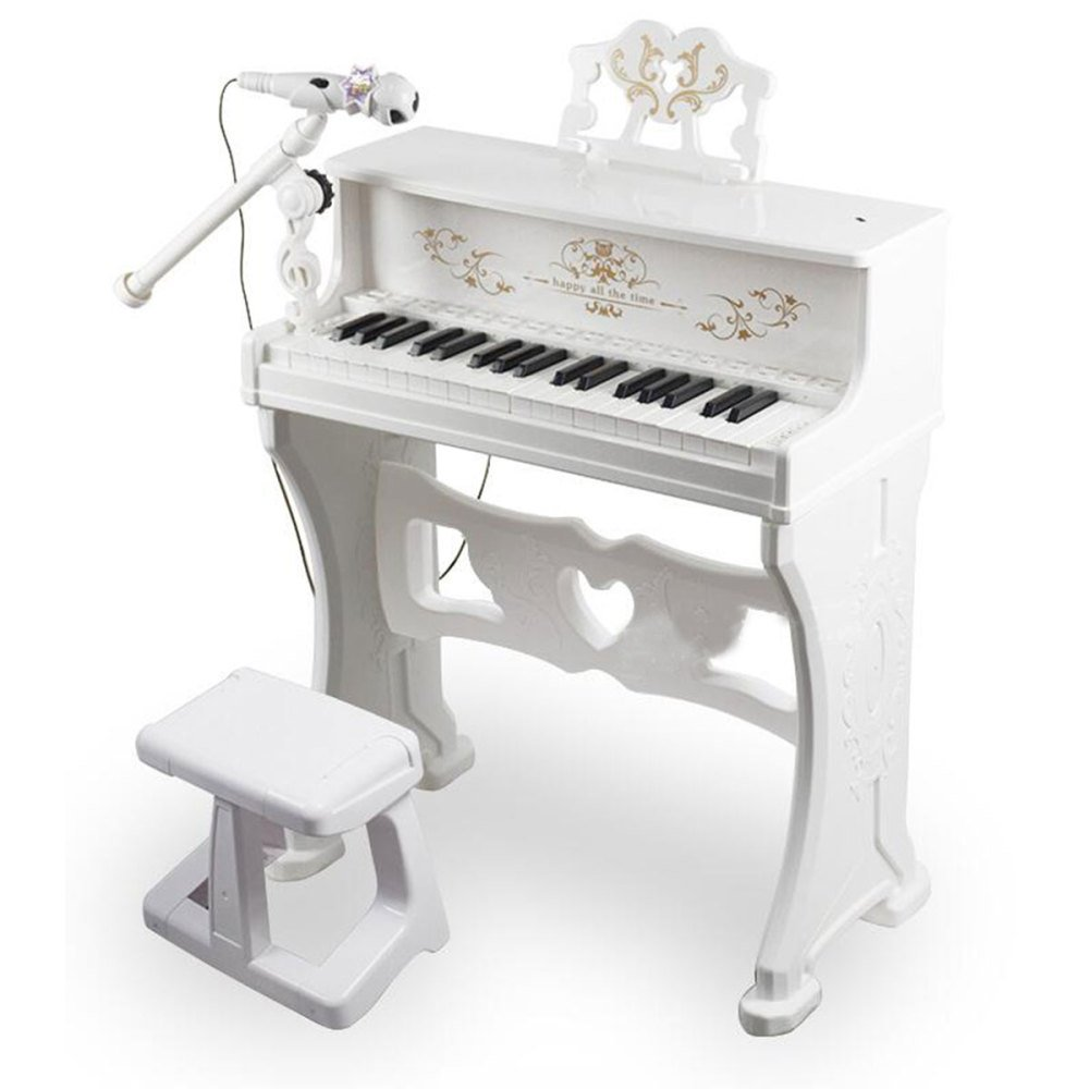 QXMEI 37-Key Piano Keyboard Premium Keyboard with Microphone Headphones Children Piano (Pink White),White by QXMEI (Image #1)