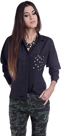 Q2 Mujer Camisa negra con adorno en el bolsillo - XS - Negro: Amazon.es: Ropa y accesorios