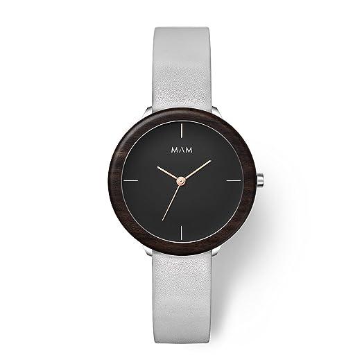 MAM Originals · Stainless Dark Ebony Grey | Reloj de Mujer | Diseño Minimalista | Creado con Madera de ébano sostenible y Acero Inoxidable Reciclado: ...