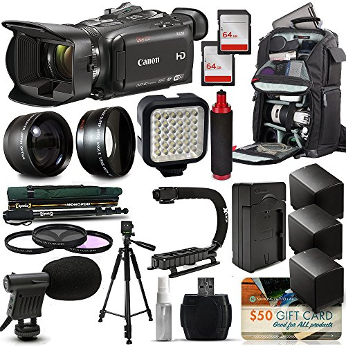 Canon XA30 HD Professional Video Camcorder + Tripod + Monopod + Action Stabilizer + 128GB + LED Light + Backpack + 3 Extra Batteries + HandGrip Handle + Mic + Telephoto Macro Lense Kit + Filter Bundle by 47th Street Photo