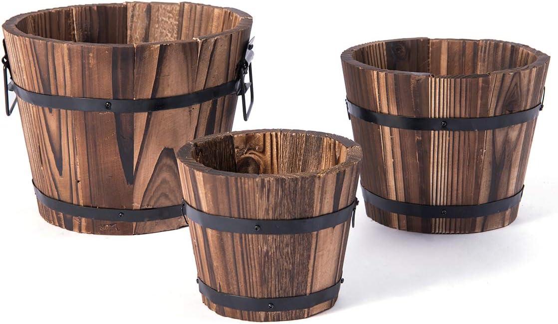 Decathlon Barrel Planters for Outdoor Plants, Outdoor/Indoor Flowerpot, Set of 3