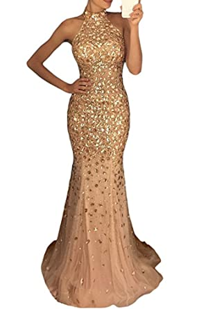 Mr.ace Homme Womens Sexy Halter Long Beaded Prom Dress Backless Mermaid Evening Gown