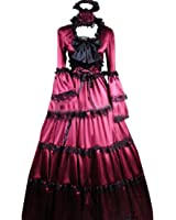 Partiss Women Bowknot Lace Multi-Layer Gothic Victorian Fancy Dress