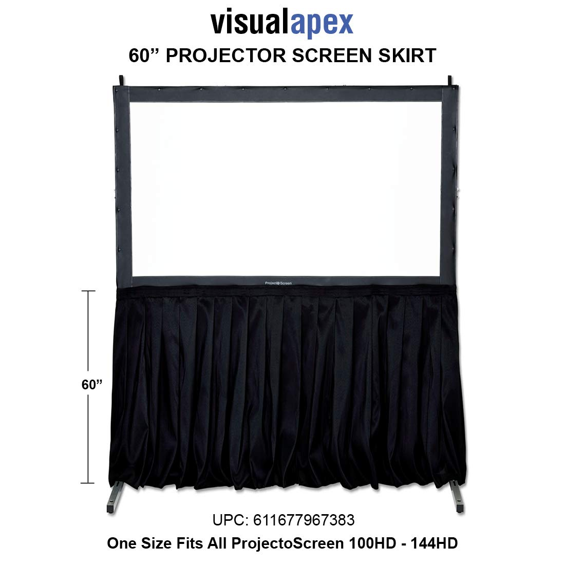 Visual Apex Projector Screen Black Presentation Screen Skirt Kit (EL) 60'' high - Extended Length Presentation Screen Skirt Kit (Screen not Included) for use with Screen and Extension Legs.