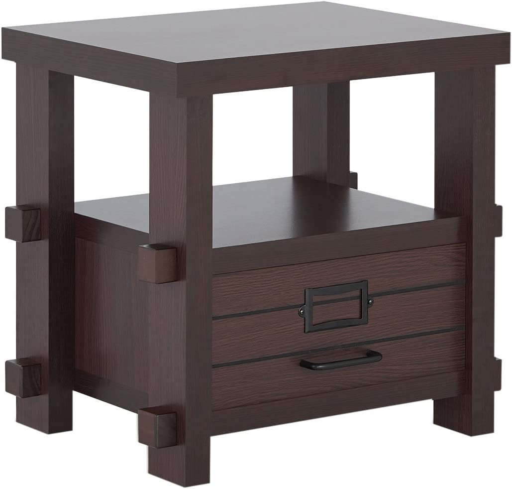 Furniture of America Rivka Modern Single Drawer Storage Wood Rectangular End Table with Open Back Center Shelf for Living Room, Espresso