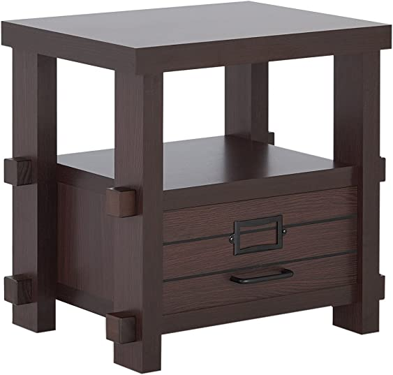 Furniture of America Rivka Modern Single Drawer Storage Wood Rectangular End Table