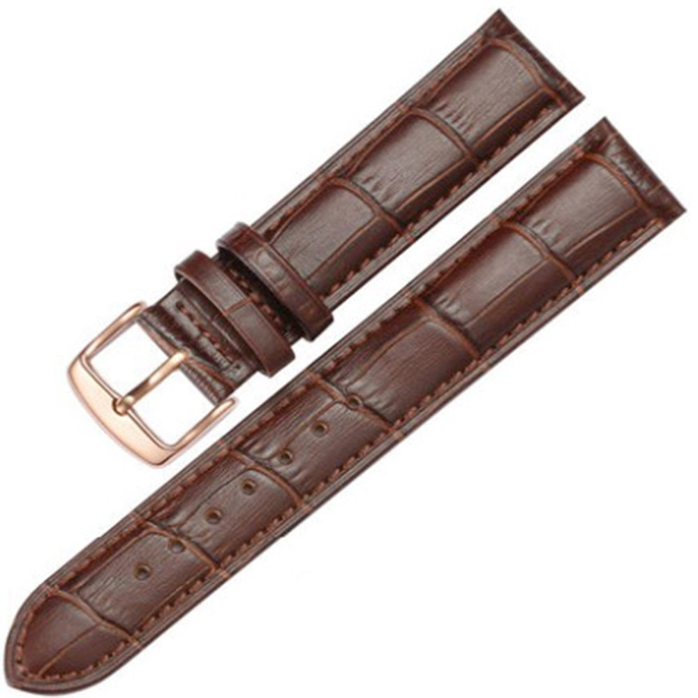 12-17mm New Genuine Leather Rose Gold Clasp Wrist Watch Bands Strap Replacement for Ladies Womens (14mm, Brown & Brown Line)