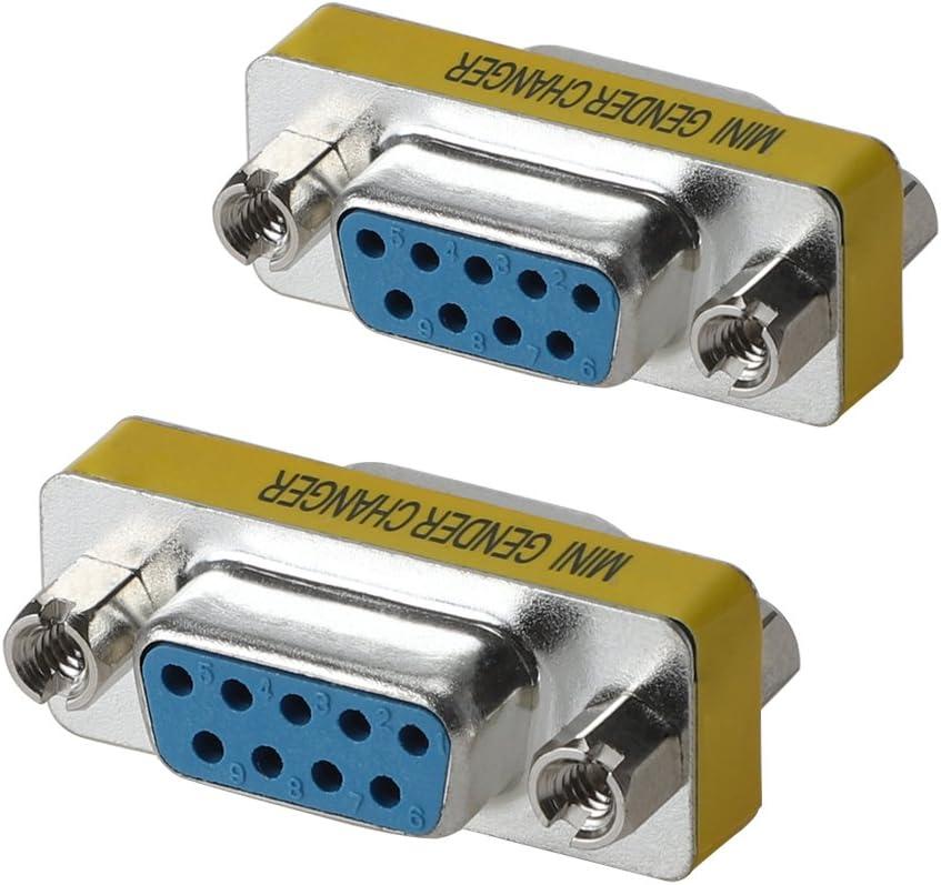 WOVTE DB9 Female to Female Mini Gender Changer Coupler Adapter Connector Pack of 2