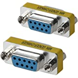 WOVTE DB9 Female to Female Mini Gender Changer Coupler Adapter Connector Pack of 2