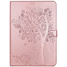 iPad Air 1st Case,Smart Magnetic Flip Embossed PU Leather Wallet Folio Stand Case Cover Auto Sleep / Wake for iPad air 1st ( Model A1474 A1475 A1476 ) - Rose Gold
