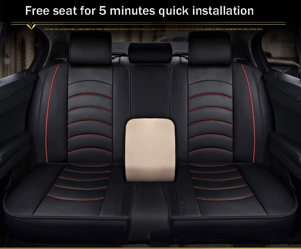 Front and Rear 5 Seats Full Set of Universal Leather Four Seasons Pad Compatible with Airbag Seat Cover Waterproof,Red Car Seat Cover