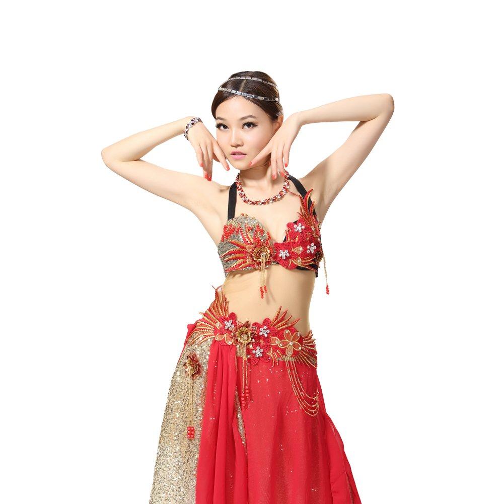 (ヨゾデメ)GUILTY BEAUTY ベリーダンス衣装 プロ仕様ダンス服 透明メッシュ ハイグレード ドレス B01F565REC  M
