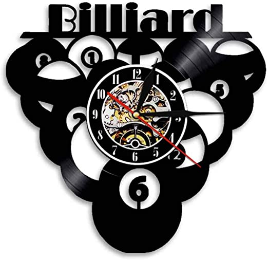 ttymei Billar Ball Pool Vinyl Clock Record Clock Sport Vintage ...