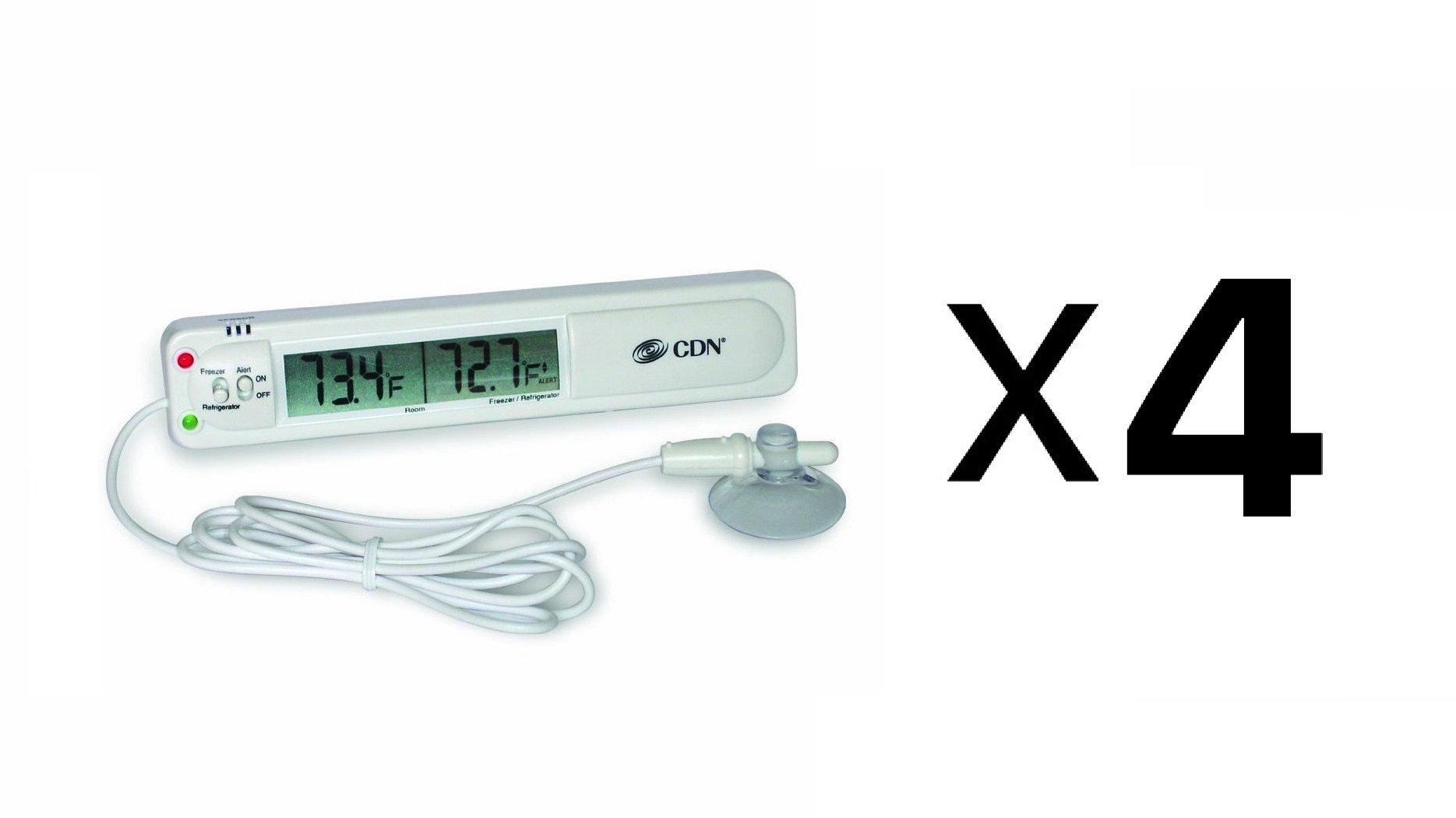 CDN Audio Visual Refrigerator Freezer Alarm Thermometer Temperature (4-Pack) by CDN