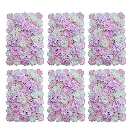 - D DOLITY Pack of 6 Wedding Artificial Flower Floral Wall Panels Pink White 40x 60cm
