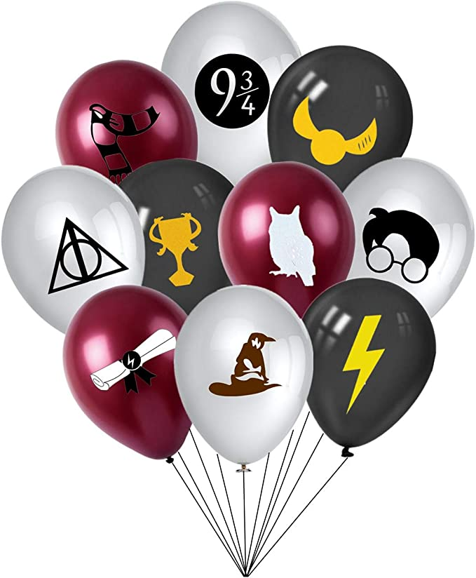 Magical Wizard Party Supplies Plates Napkins Table Cover Banner Balloons Cake Toppers for Harry Potter Wizard School Theme Birthday Party Decorations Serve 12 Guest