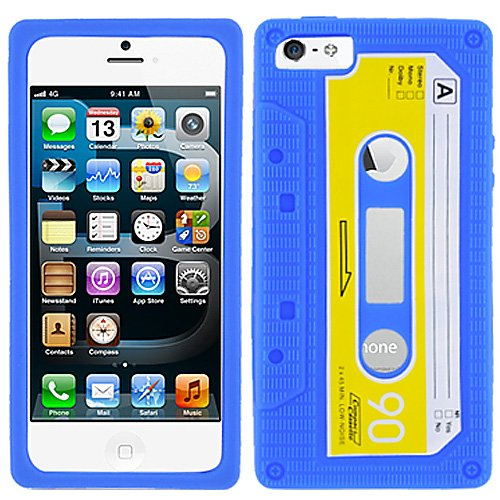 Blue Yellow Cassette Tape Silicon Soft Rubber Skin Case Cover For Apple iPhone 5 5S with Free Pouch - Cassette Silicone Skin