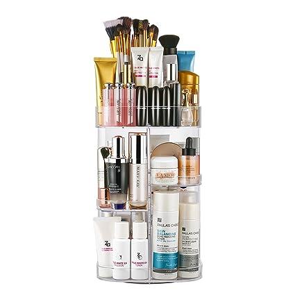 Jerrybox Acrylic Makeup Organizer 360-Degree Rotating Cosmetic Organizer Adjustable Cosmetic Storage Box Fits  sc 1 st  Amazon.com & Amazon.com: Jerrybox Acrylic Makeup Organizer 360-Degree Rotating ...