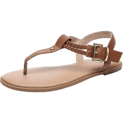 0715bcc881248 Luoika Women's Wide Width Flat Sandals - T-Strap Flip Flops Thong Flexible  Buckle Summer Shoes.