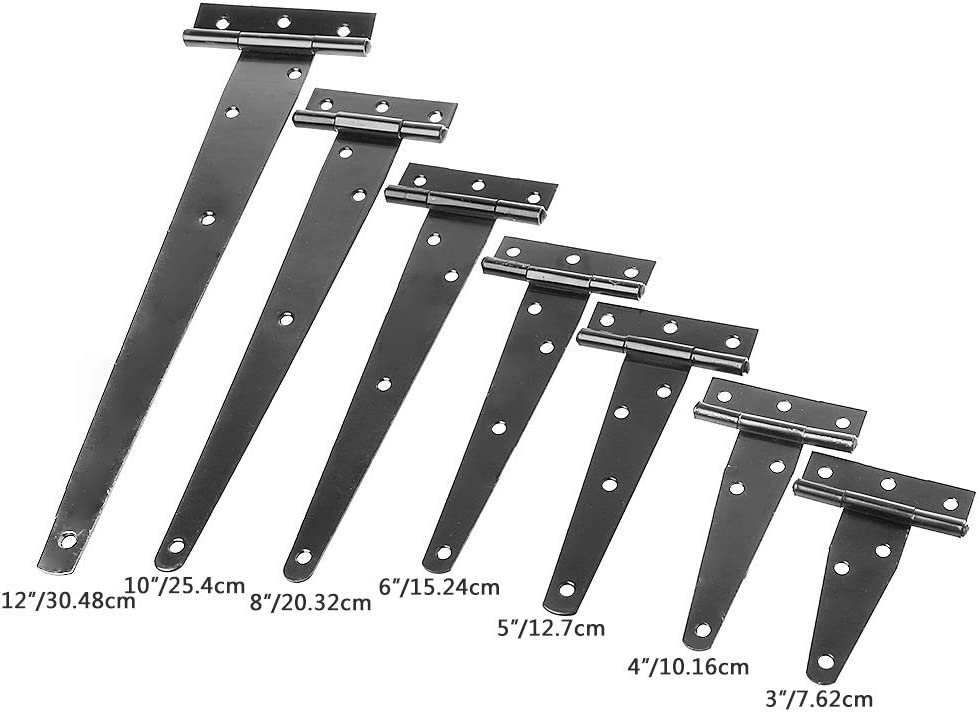 Gwxevce Pintura Negra Forma de T Tri/ángulo Bisagra Gabinete Cobertizo Bisagras de Puerta de Madera Herrajes