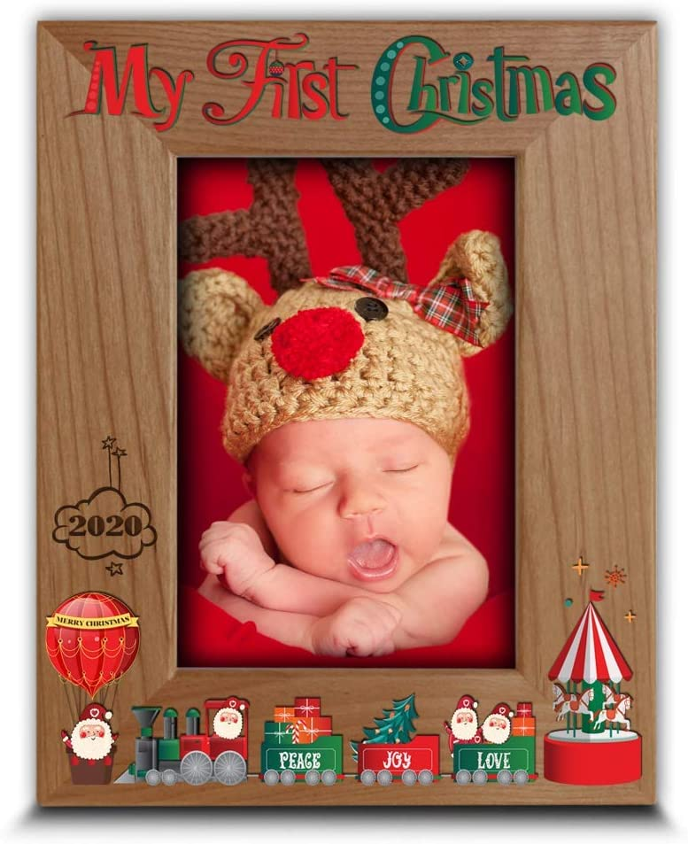 Bella Busta- My First Christmas 2020 Picture Frame-Santa and Me-Peace, Joy, Love-Merry Christmas-UV Print (5 x 7 Vertical)