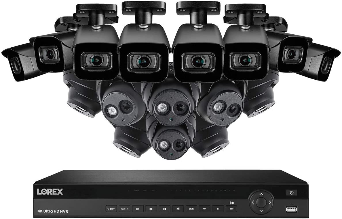Lorex 16 Channel N881A63B 4K Security System 4KHDIP1688N- 8 4K LNE8950A Audio Turret Cameras, 8 4K E861ABB Bullet Cameras