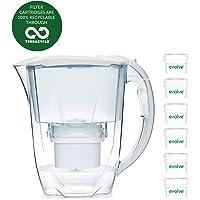 Paquete anual de 12 meses Aqua Optima - Jarra de filtro de agua Oria con 6x cartuchos de filtro de agua de 60 días- Blanca